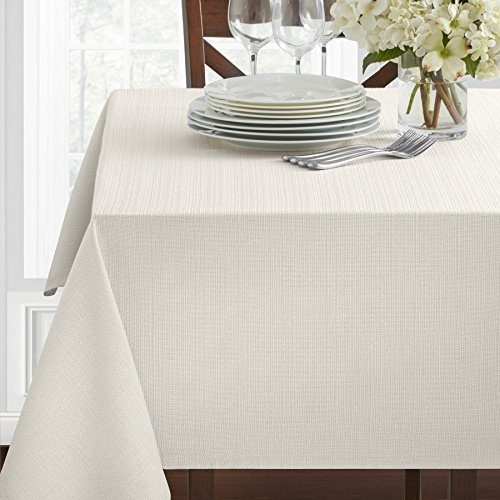 Textured Heavyweight Fabric Tablecloth, Off White, 60  x 84