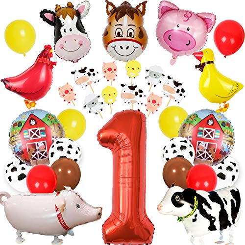 Farm Animal 1st Birthday Decorations Barnyard Animal Party Supplies Boys Girls First Birthday with Cake Toppers Farm Animal Walking Balloons