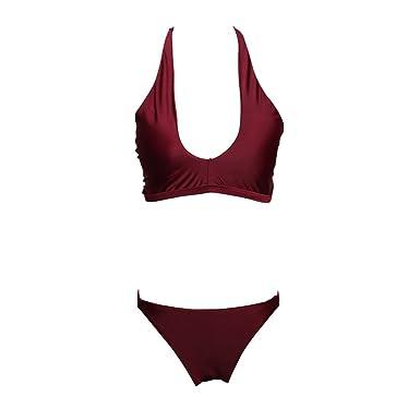 laamei Femmes Sexy Maillots de Bain 2 Pièces à Bretelles Tankini Ensemble Bikini Push Up Rembourré Couleur Solide Vente En Gros Pas Cher Meilleur bpRP3OxNQq