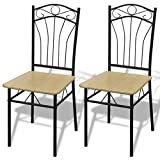 Festnight Dining Chairs Set of 2,with Metal Legs Light Brown
