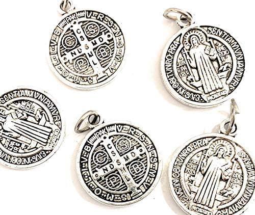 De Bussy 5 Medallas San Benito Metal ba/ño Plata