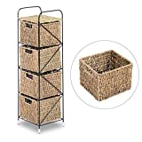 HomCom Standing Storage Unit with 4 Woven Rattan Basket Drawer