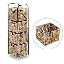 HomCom Standing Storage Unit with 4 Woven Rattan Basket Drawer