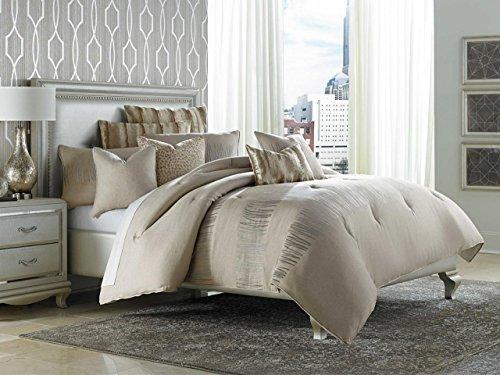 Michael Amini BCS-QS09-CAPVA-NUTR Captiva 9pc Queen Comforter Set Neutral,