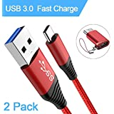 3.0 USB C Cable, HYKS USB Type C cable (2 pack 6FT) Nylon Braided USB C to USB A Fast Charger Cord for Samsung Galaxy S9 S8 Charger, LG V30 G6 G5, Google Pixel 2 XL,Nintendo Switch and More (Red)
