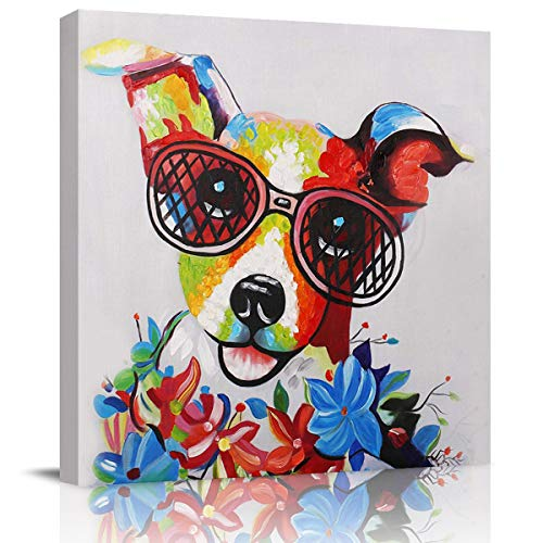 WallArtCanvasPrintsHomeDecor Poster Colorful Dog in Glasses Wreath Oil Painting Pictures Artwork for Living Room Bedroom Hall Hotel Cute Puppy Pets Colorful -