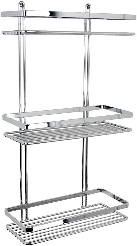 Euroshowers Duschy 56590 Estantería Para La Ducha Con 3 Estantes Cromada Inoxidable, 46 x 25 x 12 cm, Producto De Calidad Y Diseño Sueco