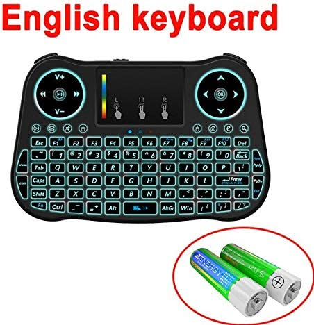 Calvas 7 color backlit MT08 Mini Wireless Keyboard 2.4ghz English Russian Spanish Air Mouse with Touchpad Remote Control Android TV Box Color: English MT08