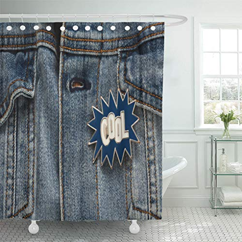 Semtomn Shower Curtain Blue 90S Denim Jacket Cool Graphic Pin Funky Accessory Shower Curtains Sets with 12 Hooks 72 x 78 Inches Waterproof Polyester Fabric