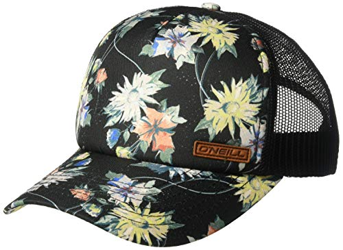 O'Neill Women's Mesh Back Adjustable Trucker Hat, Black/Saturdays, One Size