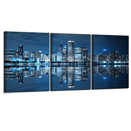 Nachic Wall- 3 Piece Pictures Ready to Hang Wall Decorations Blue Chicago Wall Art Canvas Painting City Picture Print on Canvas Framed Modern Home Living Room Bedroom Decor Decoration (Chicago Skyline Wall Art)
