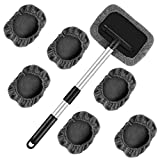 Nomiou 8pcs Windshield Glass Cleaning Tool Car Window Brush Wiper with Extendable Handle and Washable Reusable Microfiber Cloth