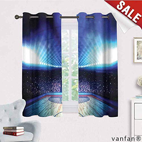 LQQBSTORAGE Basketball,Curtains Printed,Basketball Arena Court with Fans and Competition Theme Game Excitement Print,Curtains in Living Room,Navy Black Eclipse Contemporary Ceiling Fan