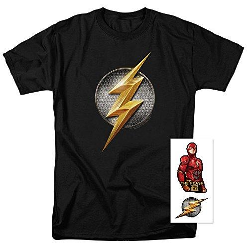Exclusive Black T-shirt (Popfunk Justice League The Flash Logo DC Comics T Shirt & Exclusive Stickers (Medium))