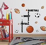 Create-A-Mural Sports Wall Decal for Boys Room ~ Soccer Baseball Football Hockey & Football (28 Stickers)