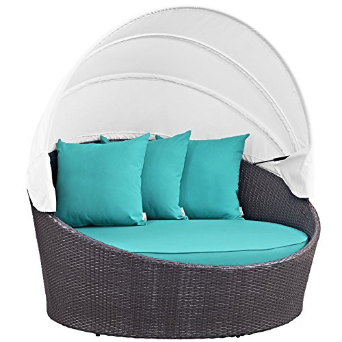 - Modway Convene Wicker Rattan Outdoor Patio Canopy Daybed in Espresso Turquoise