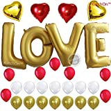 LOVE Balloons, Gold - Large, 40 Inch - Helium Supported - Pack of 29 - Valentines Day Decorations and Gift for Him or Her - Red and Gold Foil Heart Balloons - Gold Red and White Latex Balloons