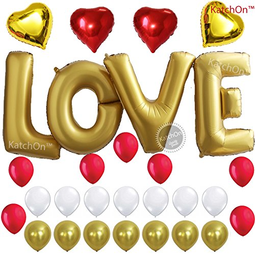 LOVE Balloons, Gold - Large, 40 Inch - Helium Supported - Pack of 29 - Valentines Day Decorations and Gift for Him or Her - Red and Gold Foil Heart Balloons - Gold Red and White Latex Balloons (Valentine Days Gifts For Her)