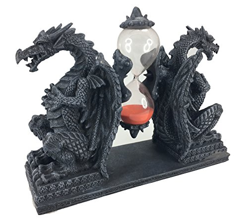 (Mythical Fantasy Double Guardian Stone Dragon Sandtimer Hourglass)