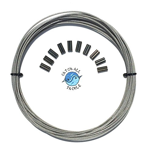 Strand 30' Spool - 49-strand Cable Vinyl Coated 7x7 Stainless Steel Kit 30ft 275lb 1.2mm W/10 1.4mm Crimps