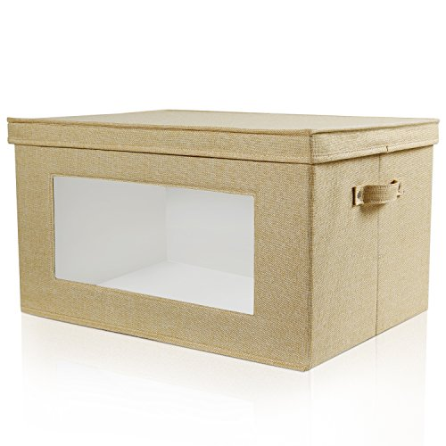 Large Foldable Box (Lifewit Toy Storage Bins with Large Vision Window, Large Storage Box Organizer Basket with Lids and Handles for Kid's Toys, Clothes, Nursery, Beige)