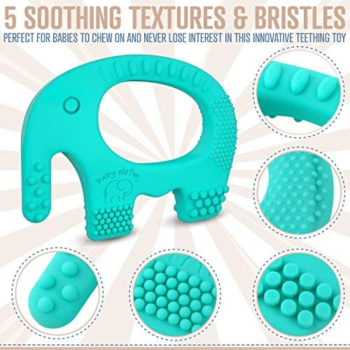 51t2ZBv5gML. AC - Baby Teething Toys - BPA Free Silicone Toy - Cute, Easy To Hold, Soft And Highly Effective Elephant Teether - Unique Teethers Best For 0-6 6-12 Months Boy Or Girl Christmas Gifts Stocking Stuffers