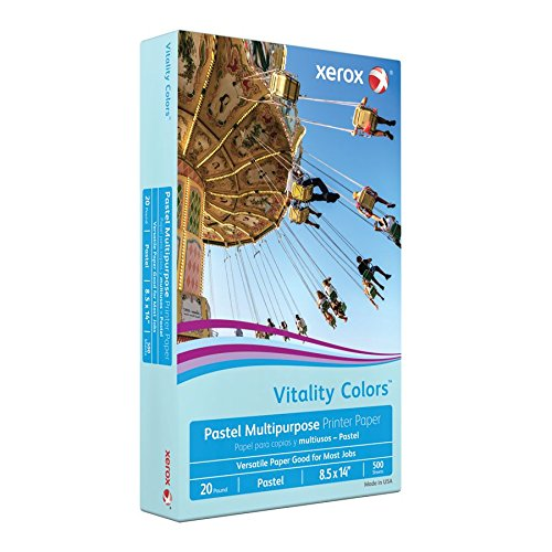 Xerox(R) Vitality Colors(TM) Multipurpose Printer Paper, Legal Size Paper, 20 Lb, 30% Recycled, Blue, Ream of 500 Sheets