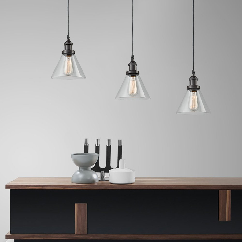 CLAXY Ecopower Antique Industrial Mini Glass Pendant Lighting 1-Light Oil-Rubbed Bronze Fixture