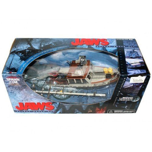(McFarlane - Movie Maniacs - Series 4 (MM4) - Jaws Deluxe Box Set w/Shark (Jaws), Boat and other custom figures and accessories)