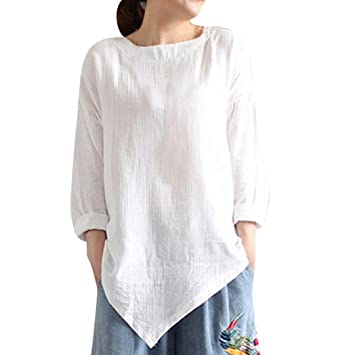 Mujer Blusa tops manga corta casual joven streetwear,Sonnena Blusa con botones flojos de manga