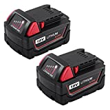 ENERMALL 5.0Ah M18 Battery Replace for Milwaukee 18V Battery XC Lithium 48-11-1820 48-11-185048-11-1828 48-11--10 Cordless Power Tools 2 Packs