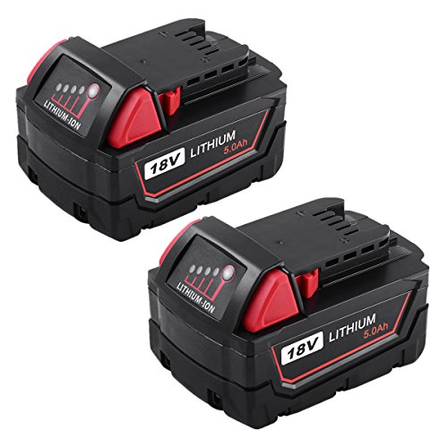 ENERMALL 5.0Ah M18 Battery Replace for Milwaukee 18V Battery XC Lithium 48-11-1820 48-11-185048-11-1828 48-11--10 Cordless Power Tools 2 Packs by ENERMALL