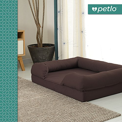 Petlo Orthopedic Pet Sofa Bed - Dog, Cat or Puppy Memory Foam Mattress Comfortable Couch for Pets with Removable Washable Cover (Large - 36'' x 28'' x 9'', Chocolate Brown) by Petlo (Image #1)