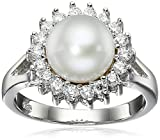 Bella Pearl Halo Pearl Ring, Size 7