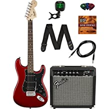 Squier by Fender Affinity Stratocaster HSS - Candy Apple Red Bundle with with Frontman 15G Amp, Cable, Tuner, Strap, Picks, and Austin Bazaar Instructional DVD