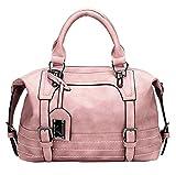 Juilletru Pink Women Tote Bags PU Leather Handbags Top Handle Vintage Purse Crossbody Shoulder Bag