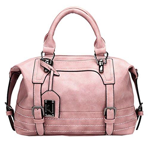 Double Buckle Tote - Juilletru Pink Women Tote Bags PU Leather Handbags Top Handle Vintage Purse Crossbody Shoulder Bag