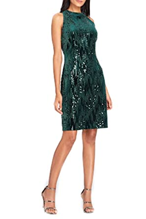 c6c418d467cc Tahari Brand ASL Sequin Velvet Sheath Dress - Forest at Amazon Women's  Clothing store:
