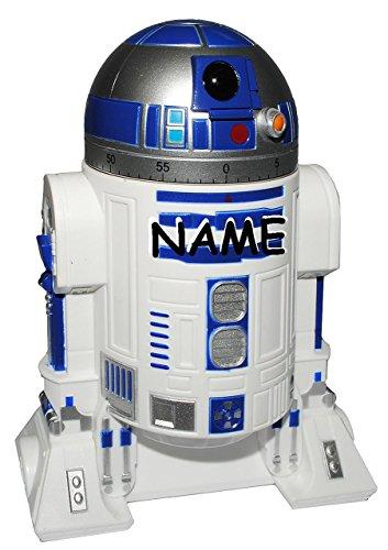 Kurzzeitmesser - 0 bis 60 Minuten - Star Wars - incl. Namen - R2 D2 - Roboter / Eieruhr - Küchenuhr Küchenwecker - Droide Starwars - Clone / Kurzzeitwecker - Analog - Stoppuhr - für Kinder & Erwachsene