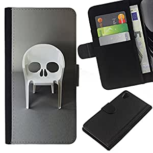 ZCell / Sony Xperia Z2 D6502 / Design Furniture Skull Vampire Chair / Caso Shell Armor Funda Case Cover Wallet / Diseño Muebles crá