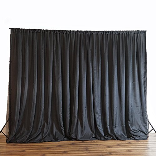 BalsaCircle 20 feet x 8 feet Black Fabric Backdrop Drapes Curtains - Wedding Ceremony Event Party Photo Booth Home Windows by BalsaCircle
