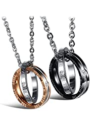 UHIBROS His & Hers Matching Set Titanium Stainless Steel Couples Pendant Necklace