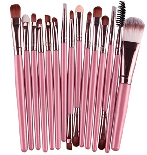 15 Piece Makeup Brushes Set Eye Shadow Eyeliner Cosmetic Make Up Tool Professional Natural Beauty Palette Eyeshadow Stylish Popular Eyes Faced Colorful Rainbow Hair Highlights Glitter Kit, Type-16 by GrandSao