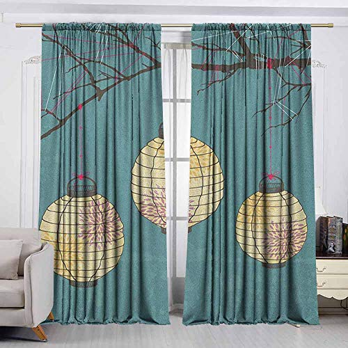 (VIVIDX Curtain Tailored,Lantern,Three Paper Lanterns Hanging on Branches Lighting Fixture Source Lamp Boho,Waterproof Patio Door Panel,W72x45L Inches Teal Pale Yellow)