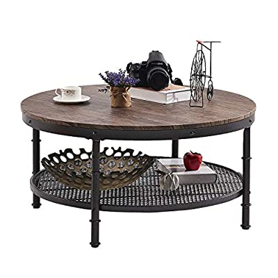 """GreenForest Coffee Table Round 35.8"""" Industrial 2-Tier Sofa Table with Storage Open Shelf and Metal Legs for Living Room, Rustic Walnut - 2-tier coffee table: 35.83'' wide table top, and lower metal grate shelf help keep your daily essentials nearby, making your room neat and tidy Round coffee table with classic appearance: Industrial-style chic with simple construction to create an attractive look and feel; fits well with your personal taste and interior décor Sturdy Coffee Table: Eco-friendly P2 particle board, waterproof and wear-resistant, durable to last a long time; thick metal frame makes it sturdy enough to hold up to 350lbs - living-room-furniture, living-room, coffee-tables - 51t2b 8OppL. SS400  -"""