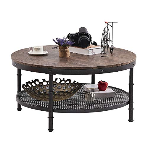 "GreenForest Coffee Table Round 35.4"" Industrial 2-Tier Sofa Table with Storage Open Shelf and Metal Legs for Living Room, Rustic Walnut"