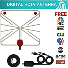 Indoor HD Digital TV Antenna Kit, 50 Mile Long Range Detachable HDTV Amplifier Adjustable Signal Booster 13.5ft Coaxial Cable USB Adapter, Support UHF VHF 1080P 4K Smart Television, Version 2018 White