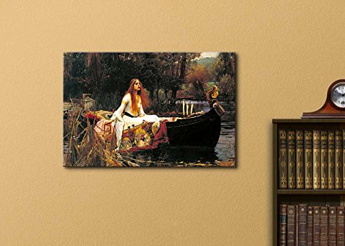The Lady of Shalott by John William Waterhouse World Famous Painting Replica on Print Wood Framed