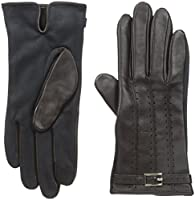 Adrienne Vittadini Women's Leather and Faux Suede Touchscreen Gloves, Conker, Large