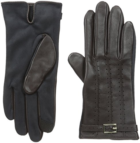 Adrienne Vittadini Women's Leather and Faux Suede Touchscreen Gloves, Conker, X-Large